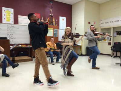 Annie Moses Band taught the students at Carvers Bay High School the fun of bluegrass music!